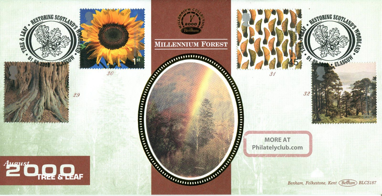 1 August 2000 Tree & Leaf Benham Blcs 187 First Day Cover Glasgow Shs Topical Stamps photo