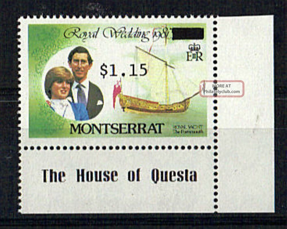 Montserrat 1981 Royal Wedding $3 Overprinted Wrongly To $1.  15 British Colonies & Territories photo