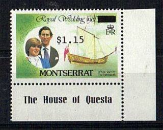 Montserrat 1981 Royal Wedding $3 Overprinted Wrongly To $1.  15 photo