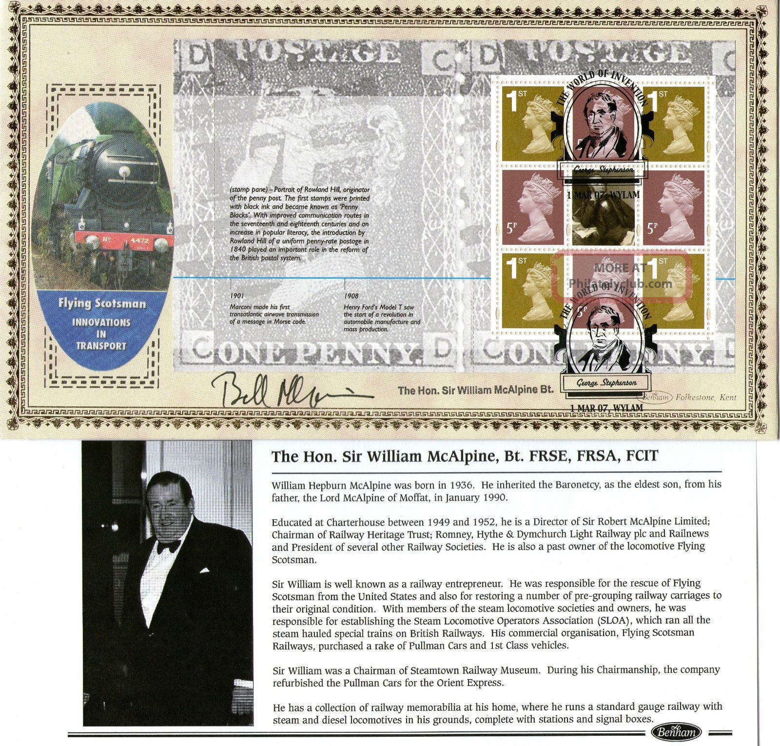 2007 World Of Invention Signed Sir Bill Mcalpine Benham First Day Cover Shs Transportation photo