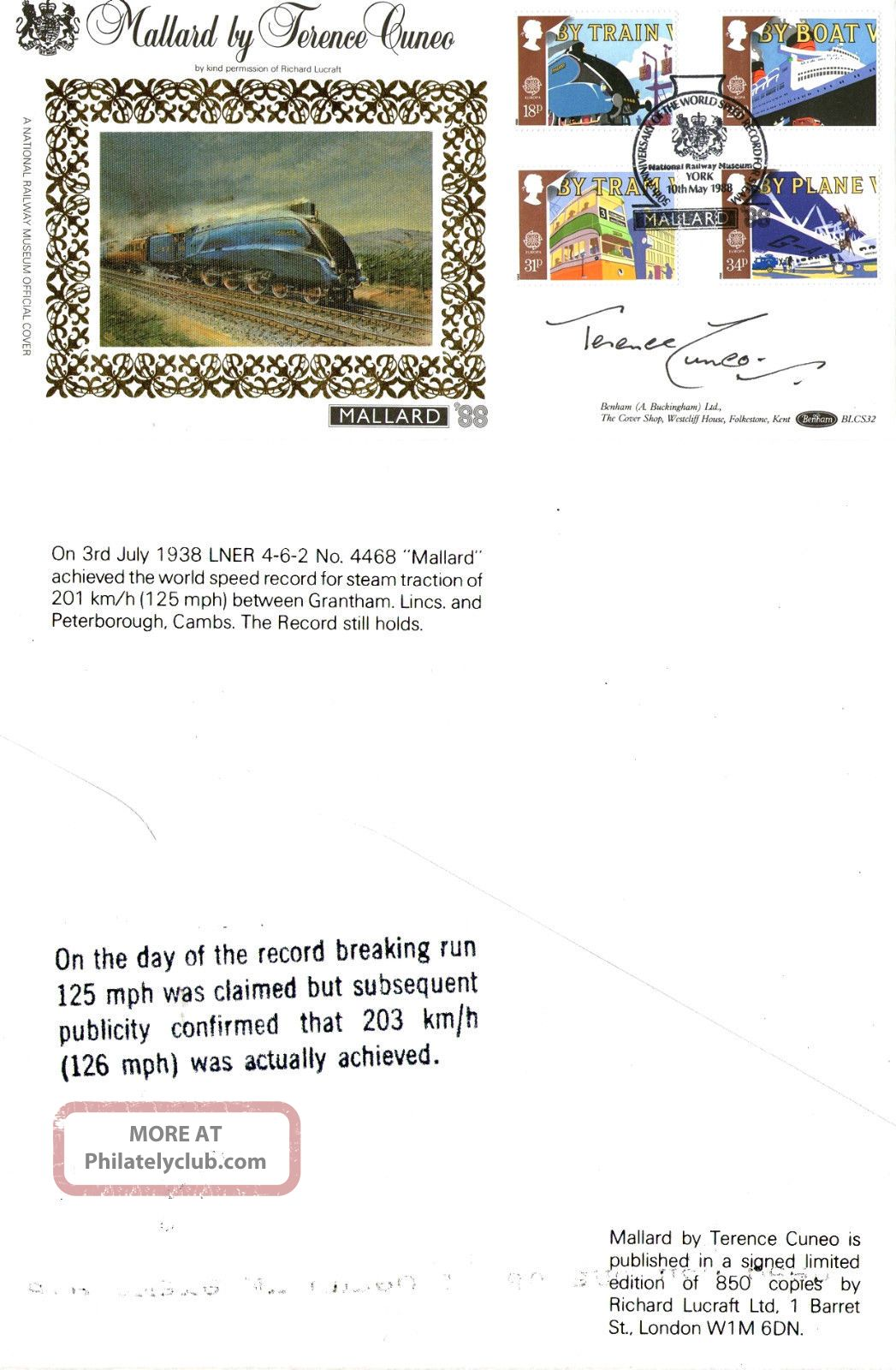 10 May 1988 Transport Signed Terence Cuneo Benham First Day Cover York Shs Transportation photo