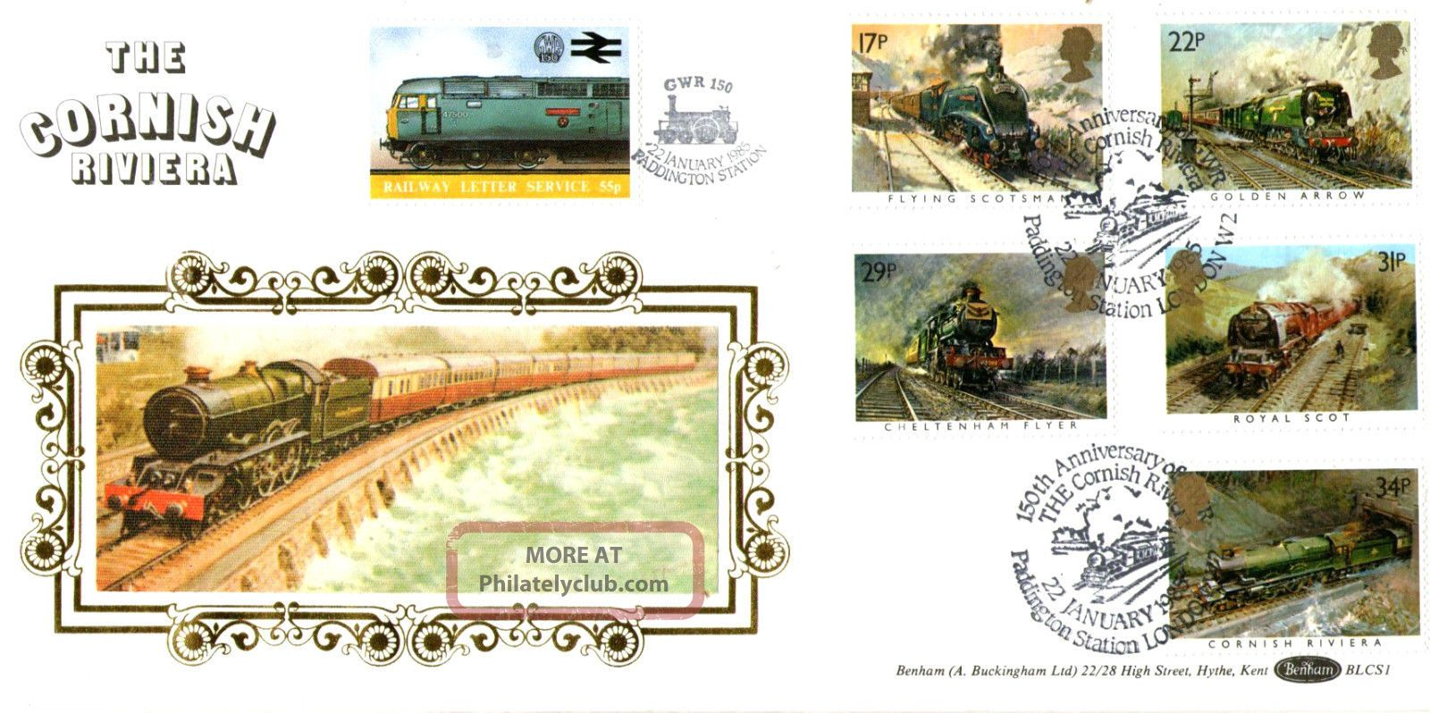 22 January 1985 Famous Trains Benham Bls 1 Le First Day Cover Cornish Riviera Transportation photo