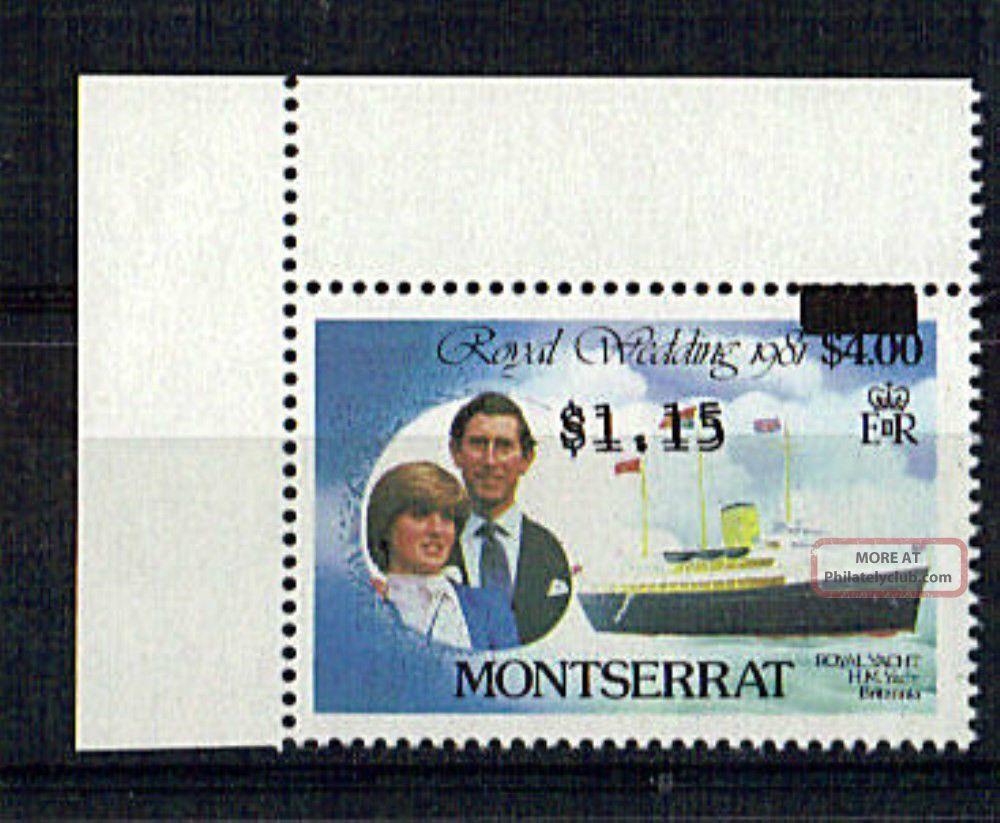 Montserrat 1981 Royal Wedding $4 $1.  15 Double Printed British Colonies & Territories photo