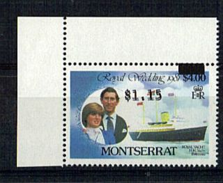 Montserrat 1981 Royal Wedding $4 $1.  15 Double Printed photo