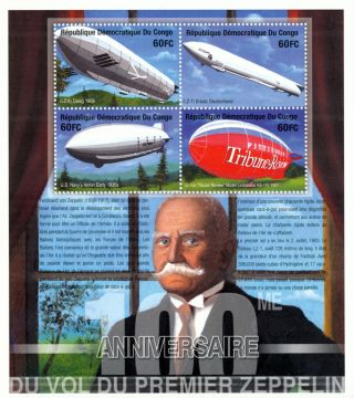 Congo - 2001 - Centuary Of Zeppelin - Airships S/s - photo