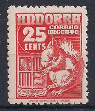 Andorra - 1949 Wild Animal Mlh - Vf Special Delivery 3 photo
