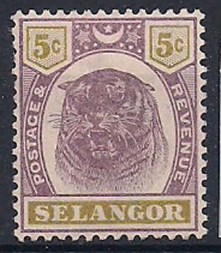 Selangor - 1895 Wild Animal Mlh - Vf 16 photo