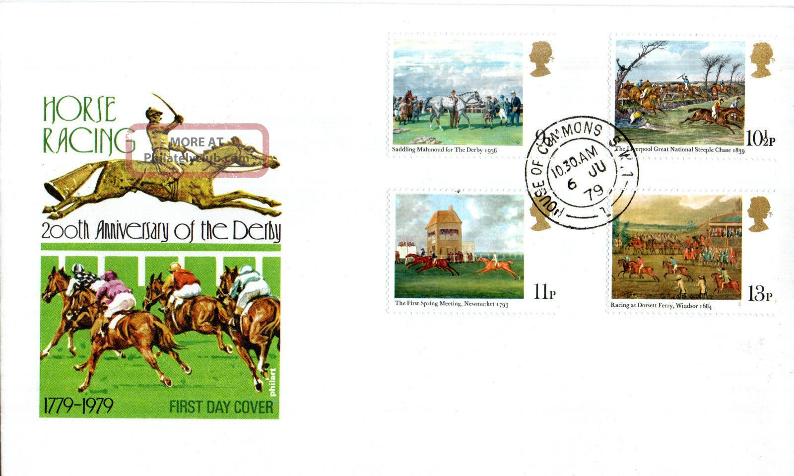 6 June 1979 Horseracing Post Office First Day Cover House Of Commons Sw1 Cds Topical Stamps photo