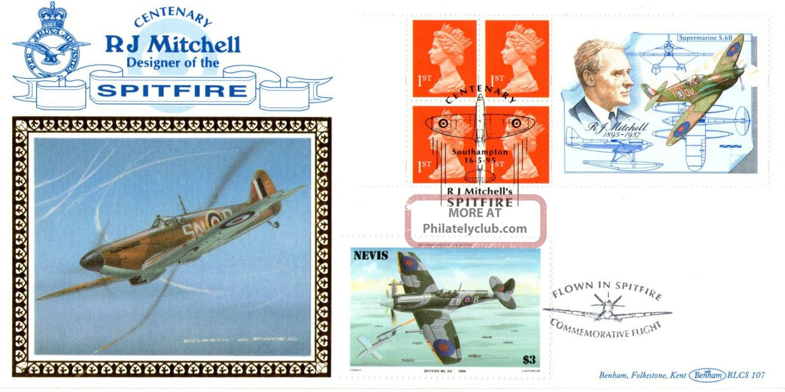16 May 1995 Rj Mitchell Label Benham Flown Blcs 107 Fdc Spitfire Southampton Shs Transportation photo