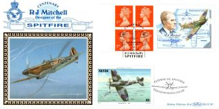 16 May 1995 Rj Mitchell Label Benham Flown Blcs 107 Fdc Spitfire Southampton Shs photo