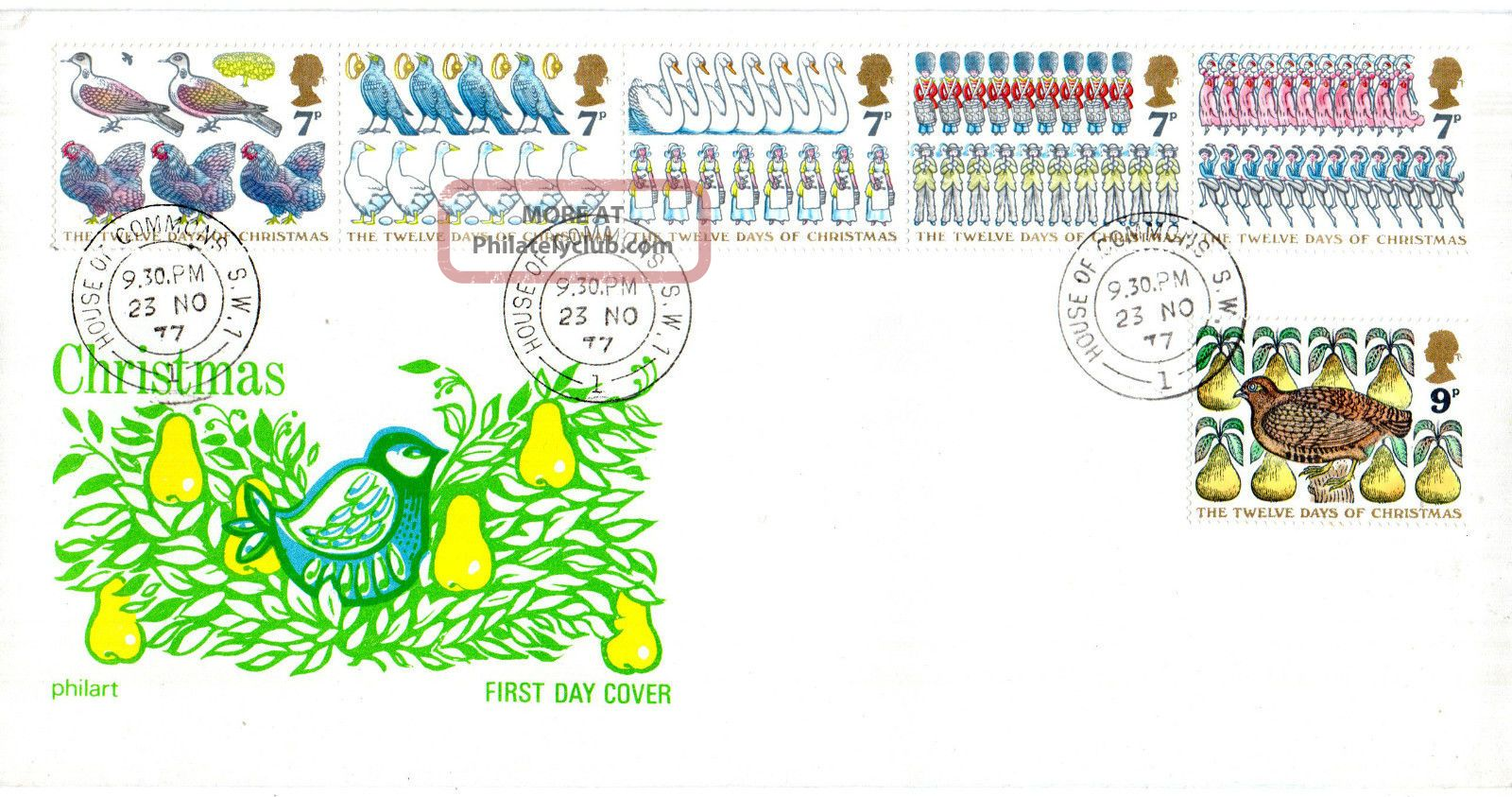 23 November 1977 Christmas Philart First Day Cover House Of Commons Sw1 Cds Topical Stamps photo