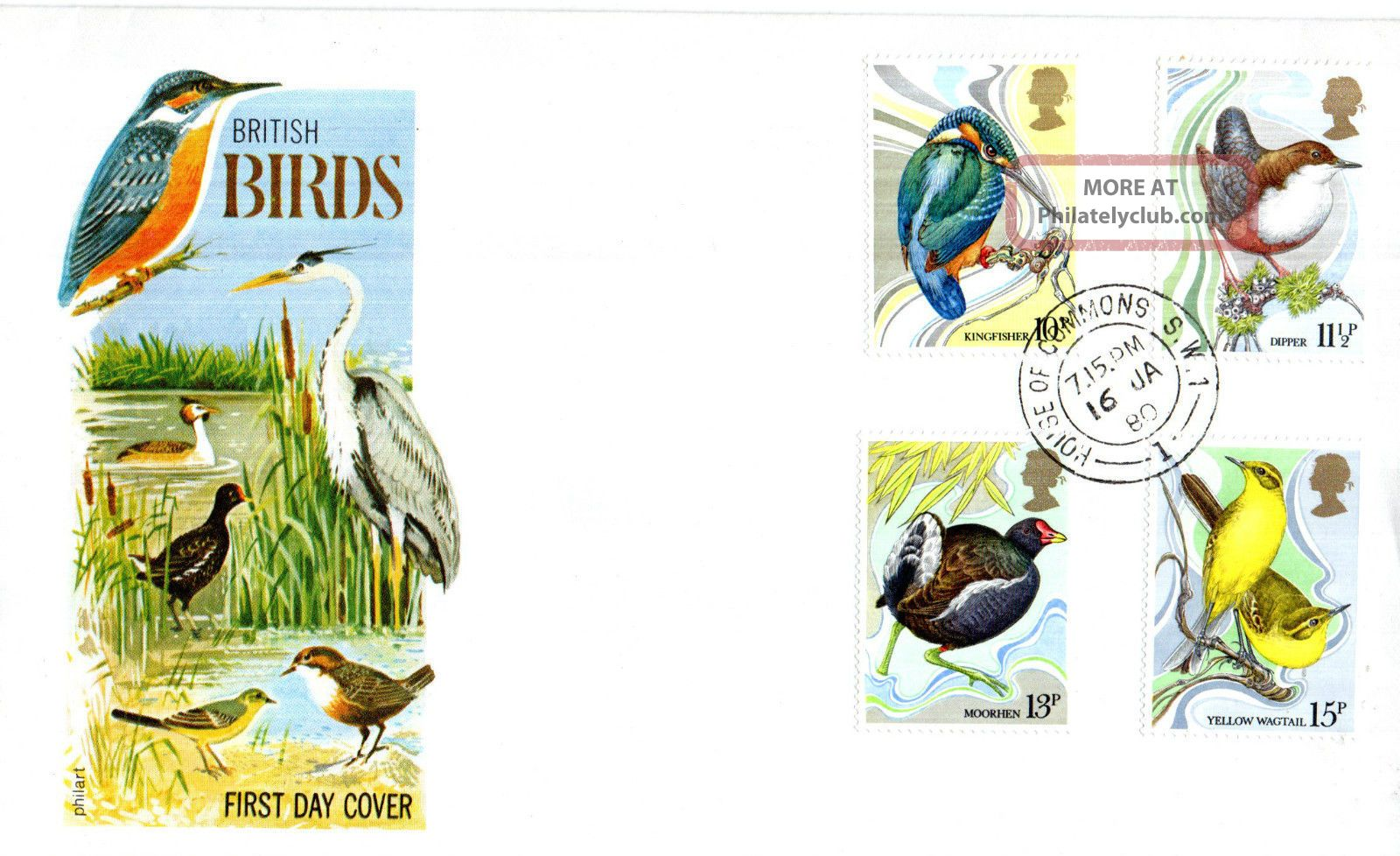 16 January 1980 British Birds Philart First Day Cover House Of Commons Sw1 Cds Animal Kingdom photo