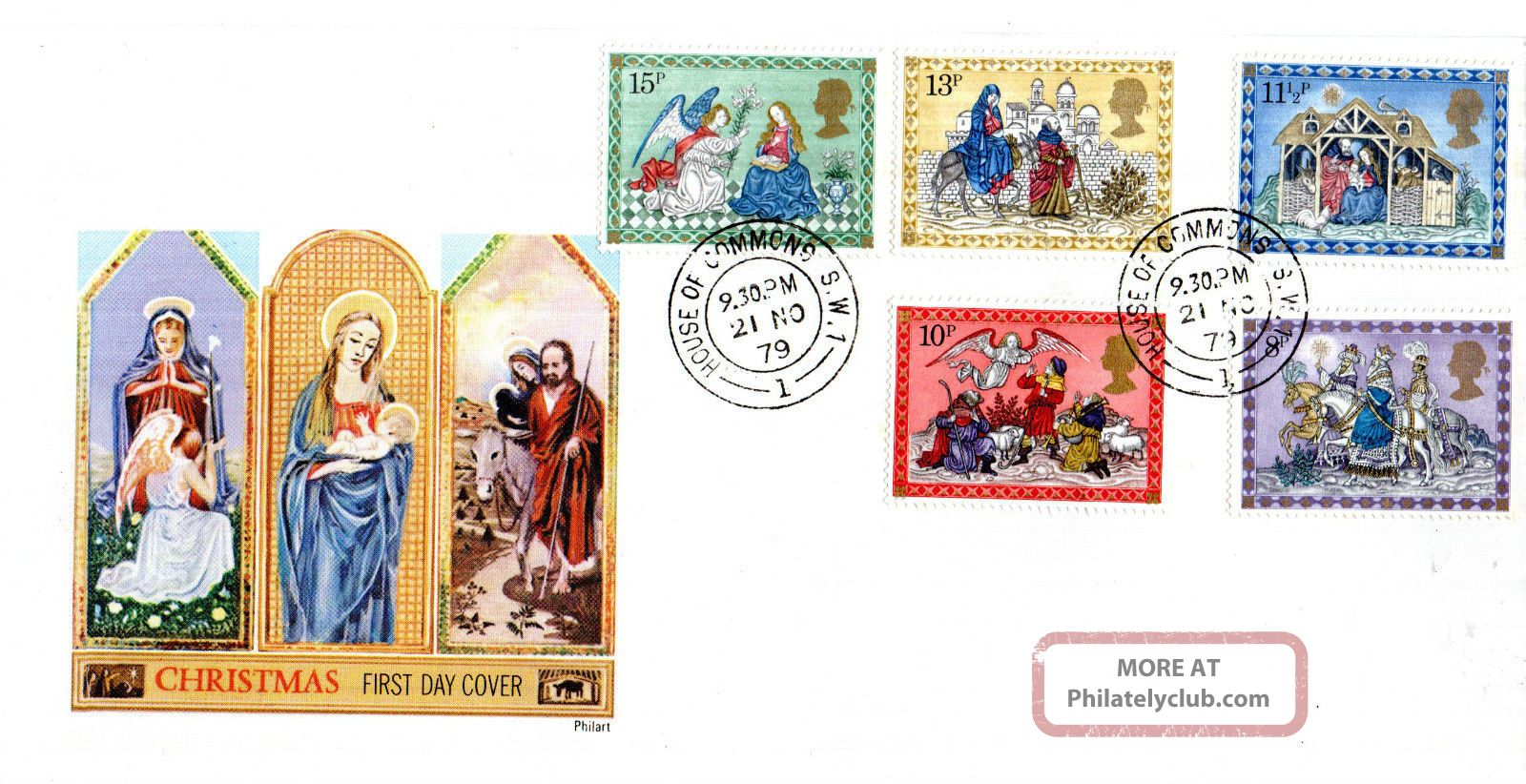 21 November 1979 Christmas Philart First Day Cover House Of Commons Sw1 Cds Topical Stamps photo