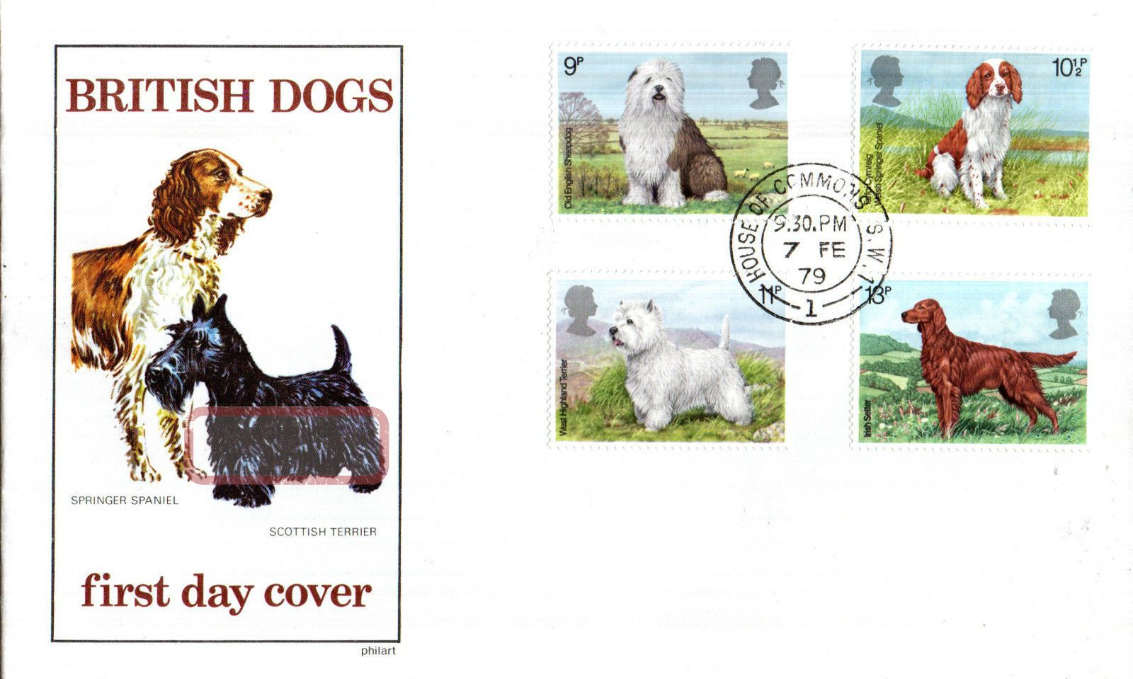 7 February 1979 Dogs Philart First Day Cover House Of Commons Sw1 Cds Animal Kingdom photo