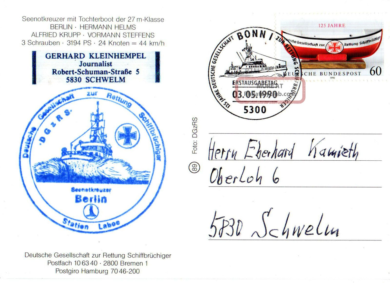 1990 German Lifeboat Berlin Cached Colour Postcard & 4 Pictures Europe photo