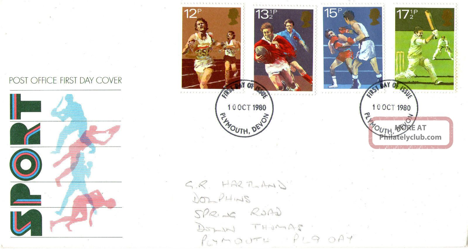 10 October 1980 Sport Centenaries Post Office First Day Cover Plymouth Fdi Topical Stamps photo