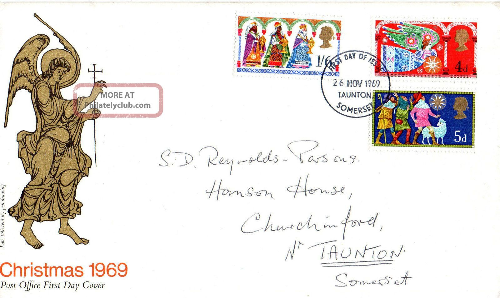 26 November 1969 Christmas Post Office First Day Cover Taunton Somerset Fdi Topical Stamps photo