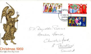 26 November 1969 Christmas Post Office First Day Cover Taunton Somerset Fdi photo