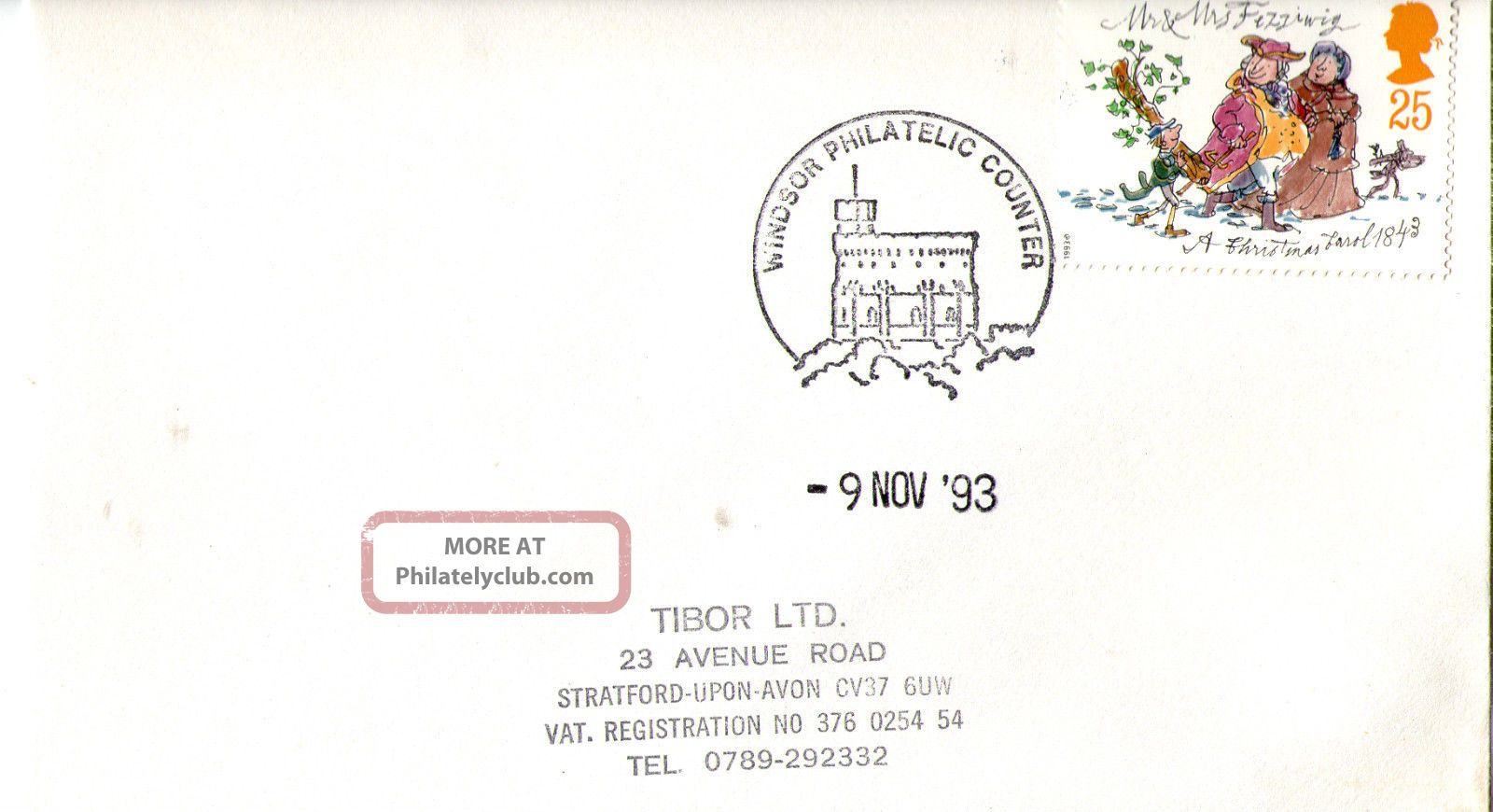 9 November 1993 Christmas First Day Cover Windsor Philatelic Counter Shs (c) Topical Stamps photo