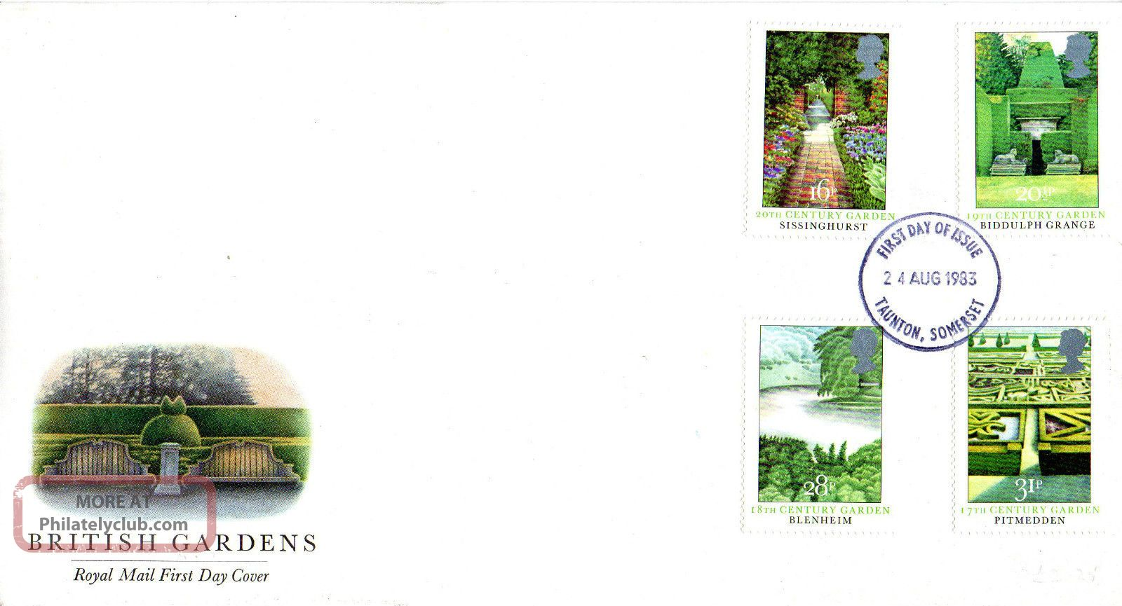 24 August 1983 British Gardens Royal Mail First Day Cover Taunton Fdi Topical Stamps photo