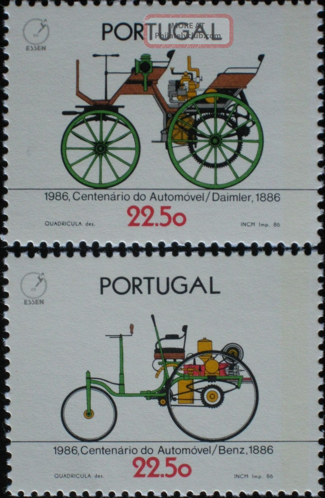 Portugal 1986 – Antique Cars – The 100th Anniversary Of The Automobile – Transportation photo