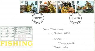 23 September 1981 Fishing Post Office First Day Cover Birmingham Fdi photo