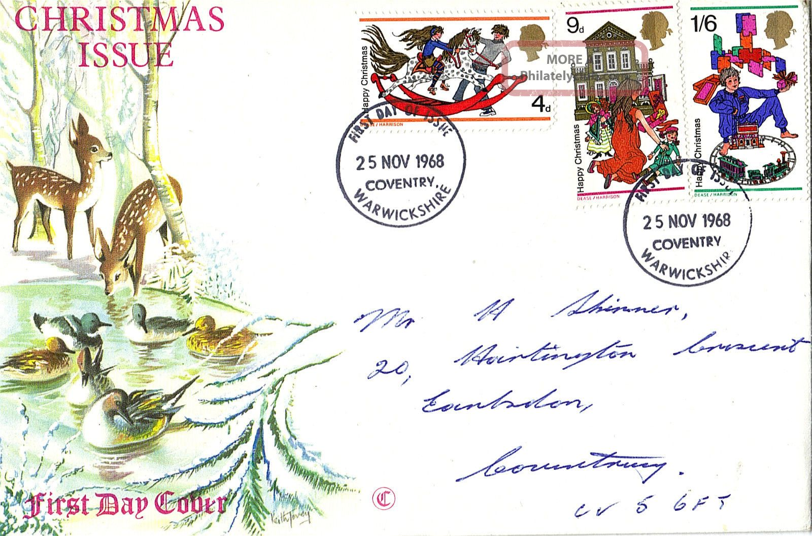 25 November 1968 Christmas Connoisseur First Day Cover Coventry Fdi Topical Stamps photo