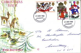 25 November 1968 Christmas Connoisseur First Day Cover Coventry Fdi photo