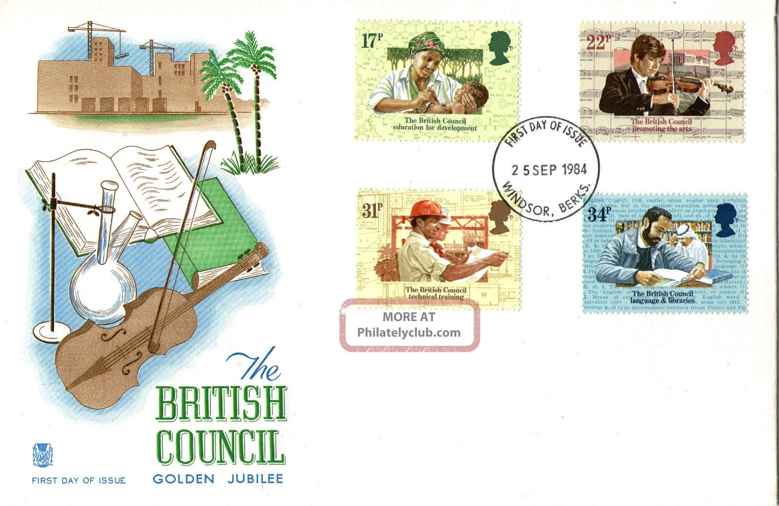 25 September 1984 British Council Stuart First Day Cover Windsor Fdi Topical Stamps photo