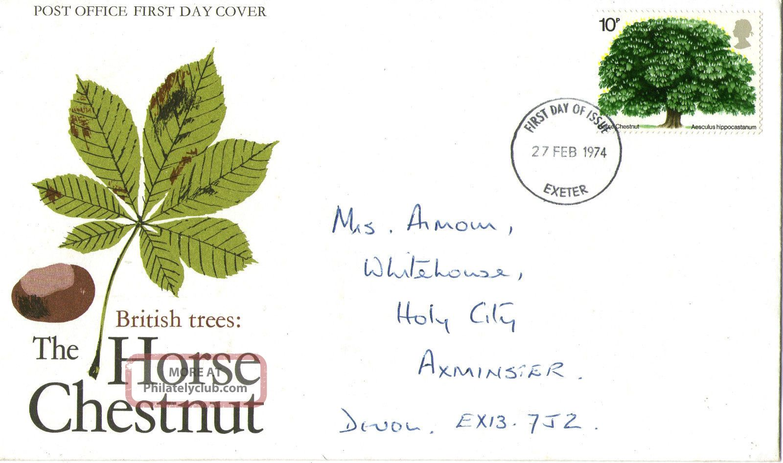 27 February 1974 The Horse Chestnut Tree Po First Day Cover Exeter Fdi Topical Stamps photo
