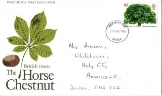 27 February 1974 The Horse Chestnut Tree Po First Day Cover Exeter Fdi photo