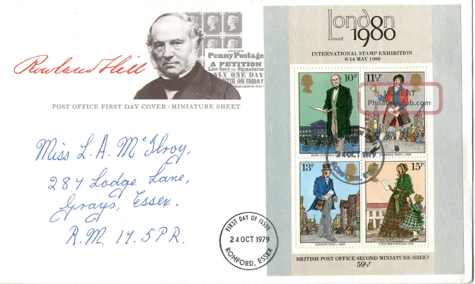 24 October 1979 Sir Rowland Hill Centenary M/sheet First Day Cover Romford Fdi Topical Stamps photo