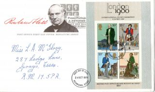 24 October 1979 Sir Rowland Hill Centenary M/sheet First Day Cover Romford Fdi photo