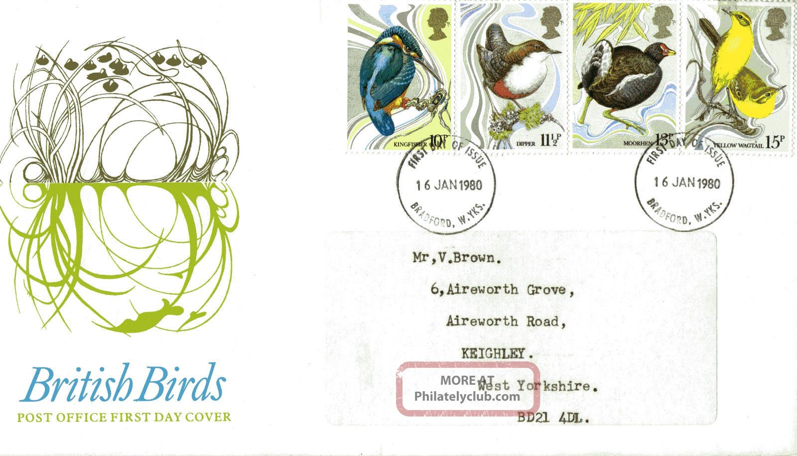 16 January 1980 British Birds Post Office First Day Cover Bradford Fdi Animal Kingdom photo