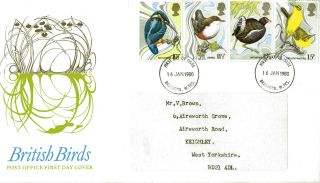16 January 1980 British Birds Post Office First Day Cover Bradford Fdi photo