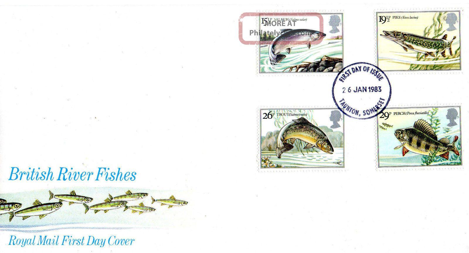 26 January 1983 British River Fishes Royal Mail First Day Cover Taunton Fdi Animal Kingdom photo