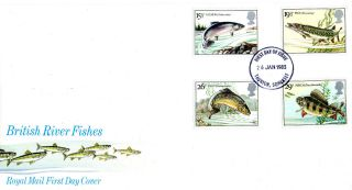 26 January 1983 British River Fishes Royal Mail First Day Cover Taunton Fdi photo