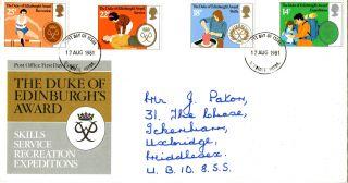 12 August 1981 Duke Of Edinburgh Awards Post Office First Day Cover Uxbridge Fdi photo