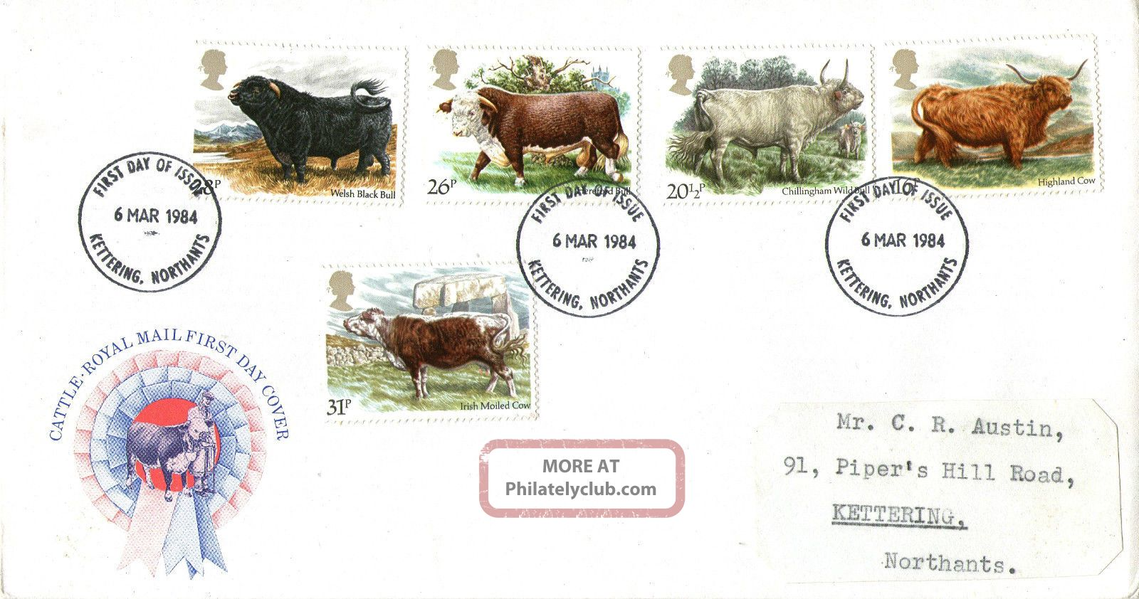6 March 1984 British Cattle Royal Mail First Day Cover Kettering Northants Fdi Animal Kingdom photo