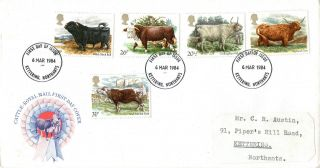 6 March 1984 British Cattle Royal Mail First Day Cover Kettering Northants Fdi photo