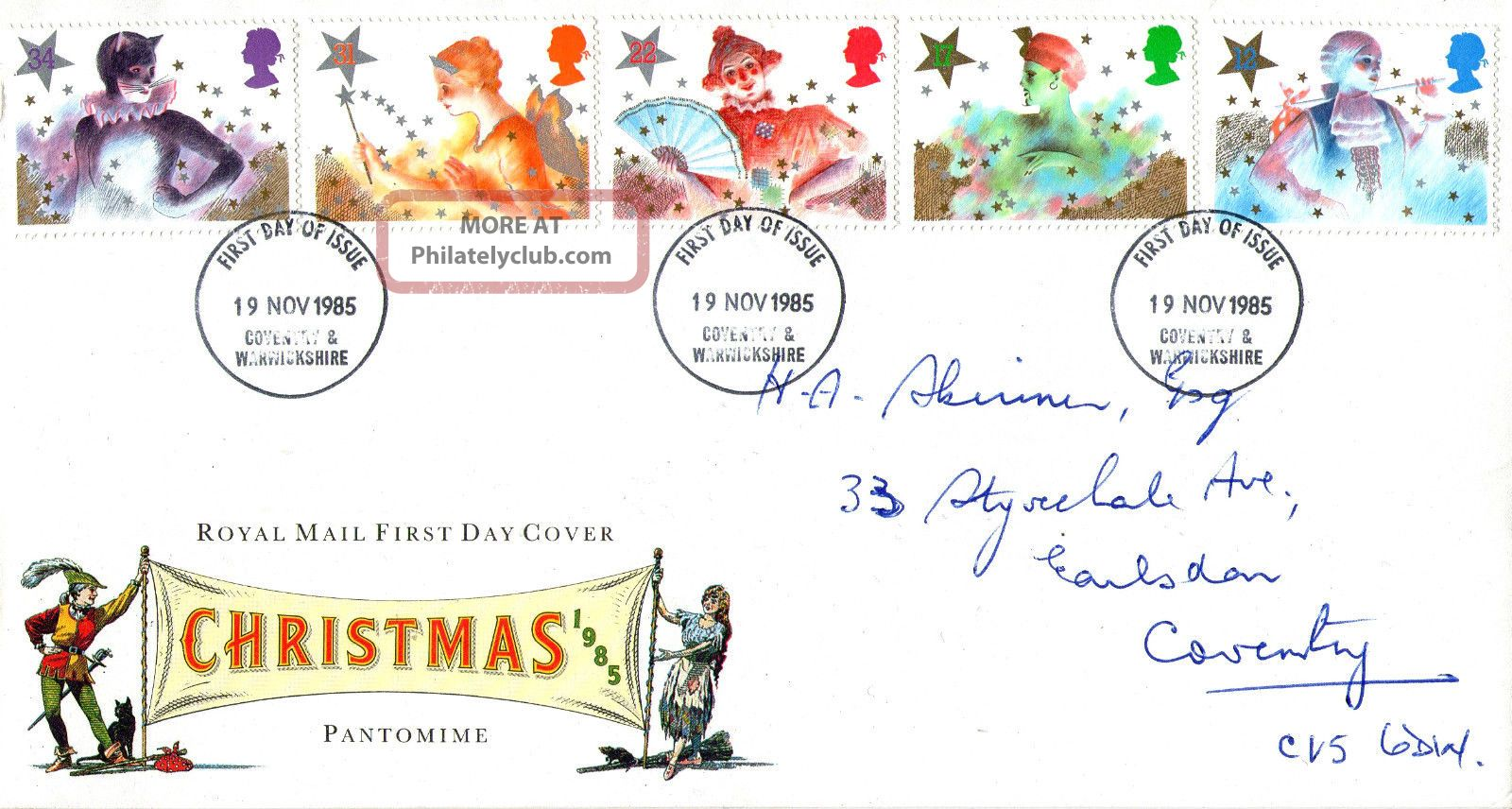 19 November 1985 Christmas Royal Mail First Day Cover Coventry Fdi Topical Stamps photo