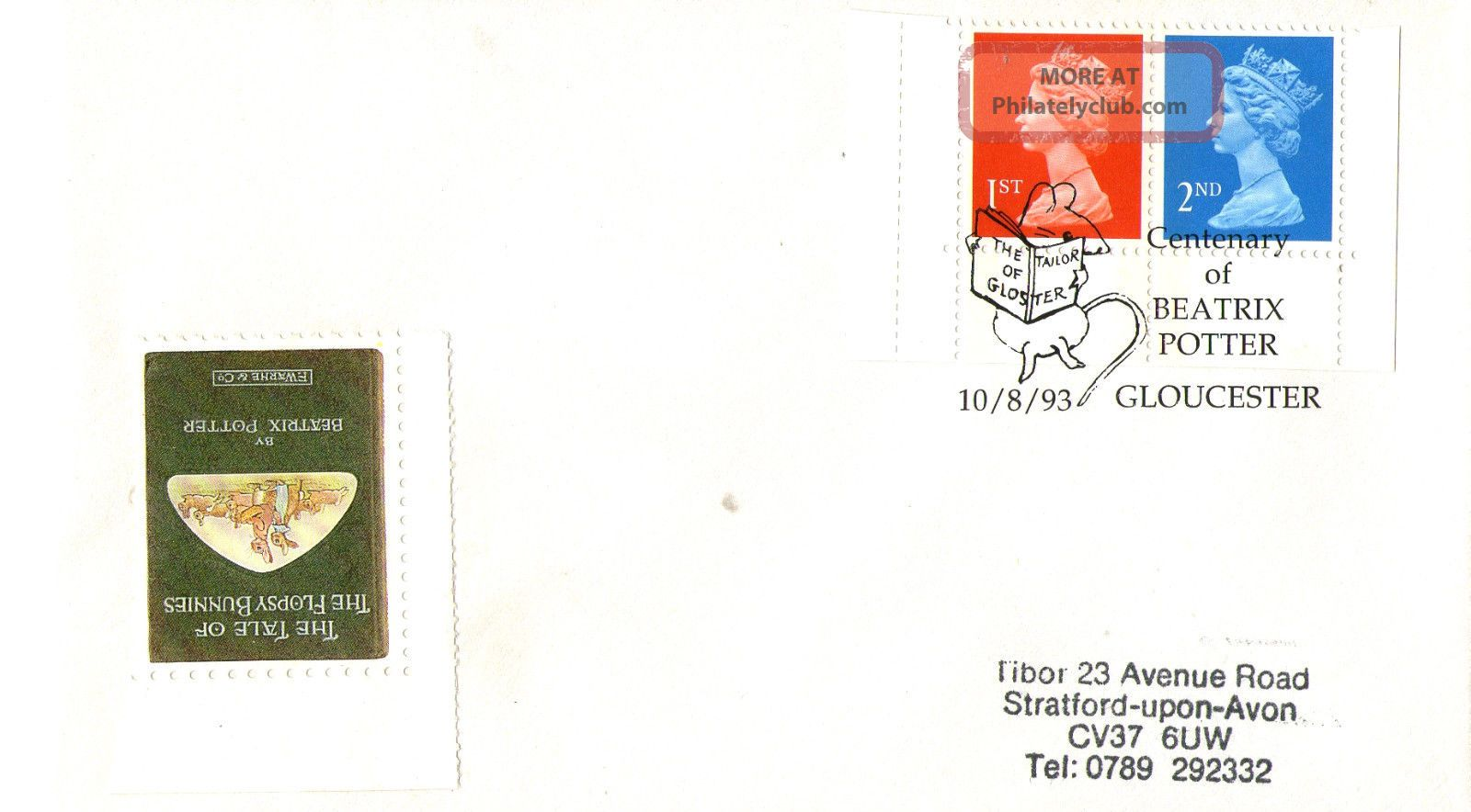 10 August 1993 Beatrix Potter Cover Centenary Of Beatrix Potter Gloucester Shs A Topical Stamps photo