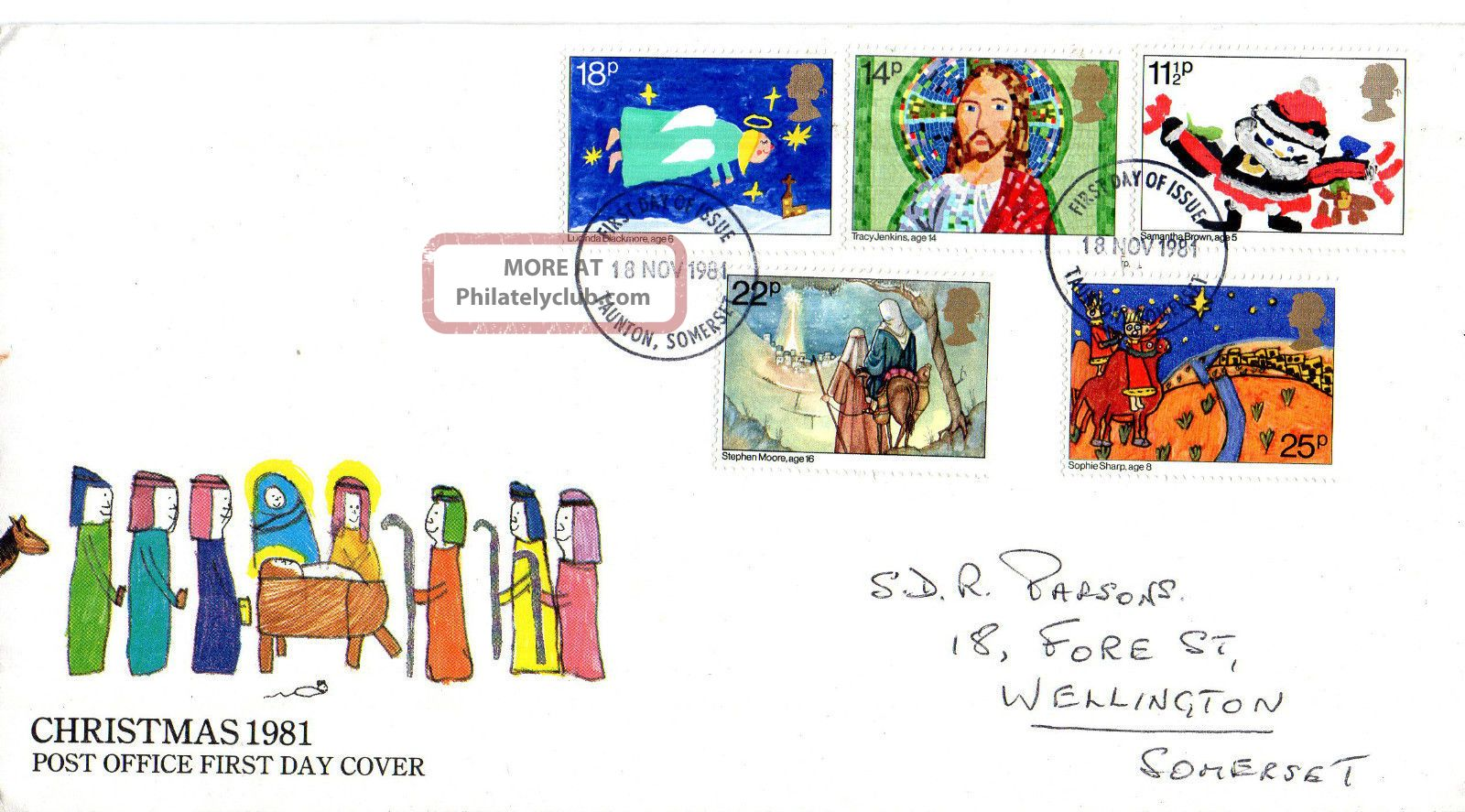 18 November 1981 Christmas Post Office First Day Cover Taunton Somerset Fdi Topical Stamps photo