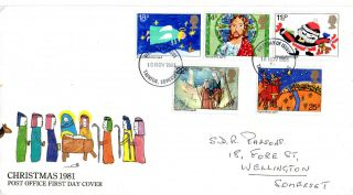 18 November 1981 Christmas Post Office First Day Cover Taunton Somerset Fdi photo