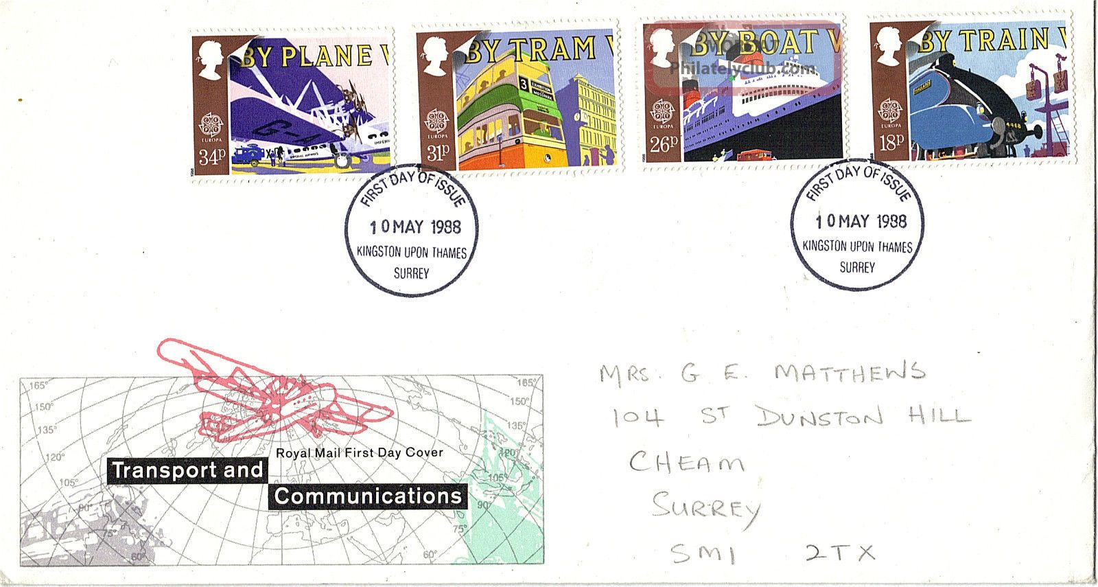 10 May 1988 Transport & Communication Rm First Day Cover Kingston U Thames Fdi Transportation photo