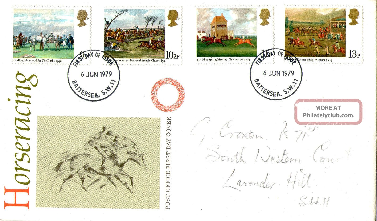 6 June 1979 Horseracing Post Office First Day Cover Battersea Sw11 Fdi Topical Stamps photo