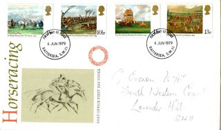 6 June 1979 Horseracing Post Office First Day Cover Battersea Sw11 Fdi photo
