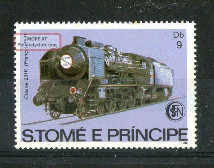 St Thomas & Prince Island 1982 French Steam Locomotive Commemorative Stamp Europe photo