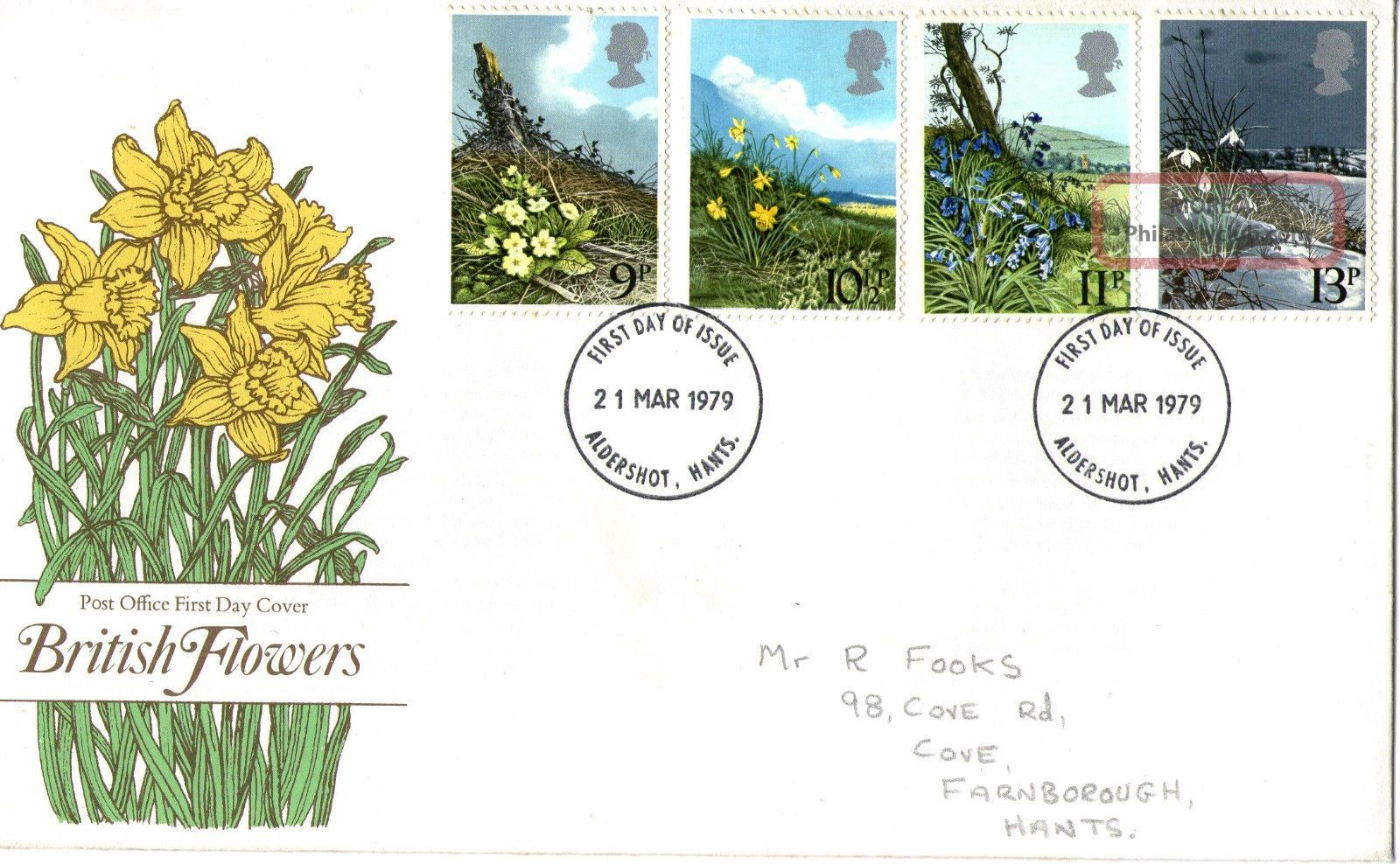 21 March 1979 Spring Flowers Post Office First Day Cover Aldershot Fdi Topical Stamps photo