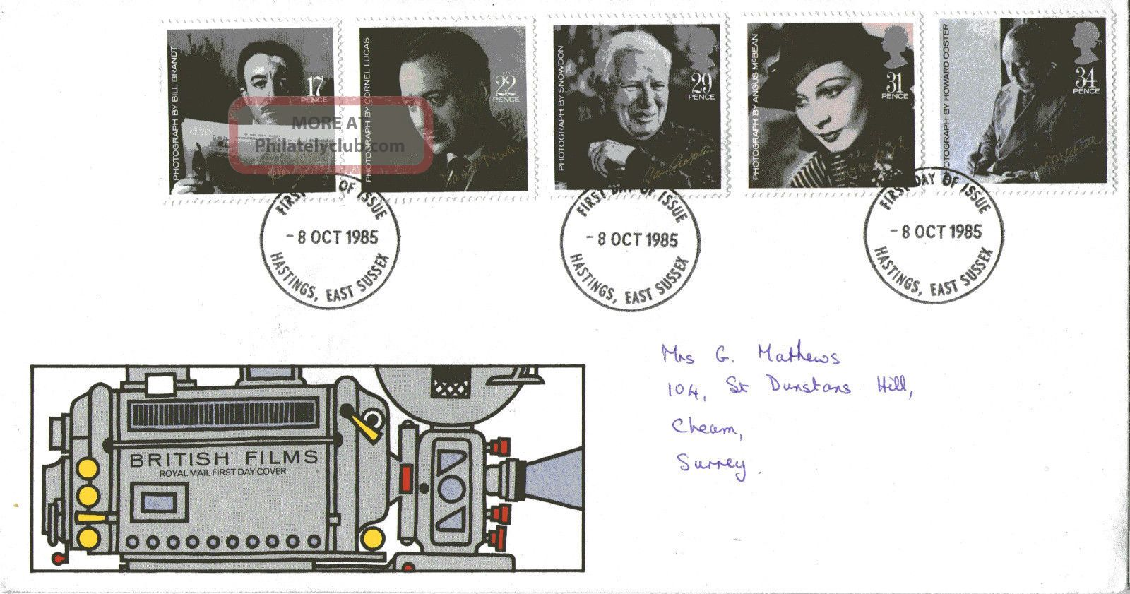 8 October 1985 British Film Year Royal Mail First Day Cover Hastings Sussex Fdi Topical Stamps photo